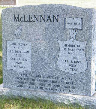 Jane Glover George McLennan grave stone